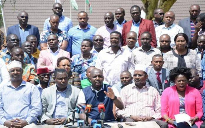 Jubilee MPs and senators allied to Deputy President William Ruto at a press conference during their Naivasha retreat on Jan 28, 2020.