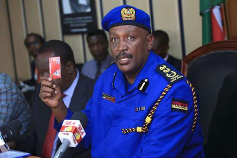 Inspector General of Police Hillary Mutyambai addresses a press conference at Harambee House on June 28 2019.