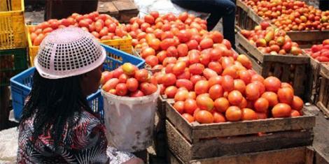 Tomatoes on display at a stall at Muthurwa Market, Nairobi
