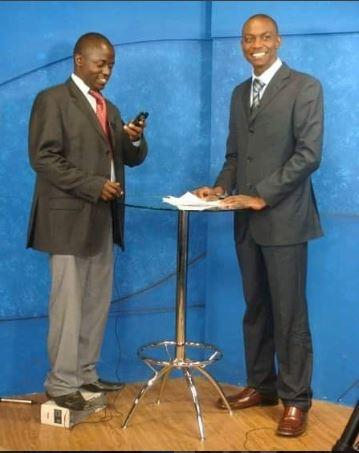 K24 anchor Eric Njoka (right) with the guest before an interview at K24 studios in 2018