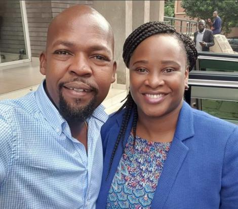 A photo of Milele FM Presenter Alex Mwakideu and State House Spokesperson Kanze Dena take a photo at the Milele FM studios on Tuesday, February 18.