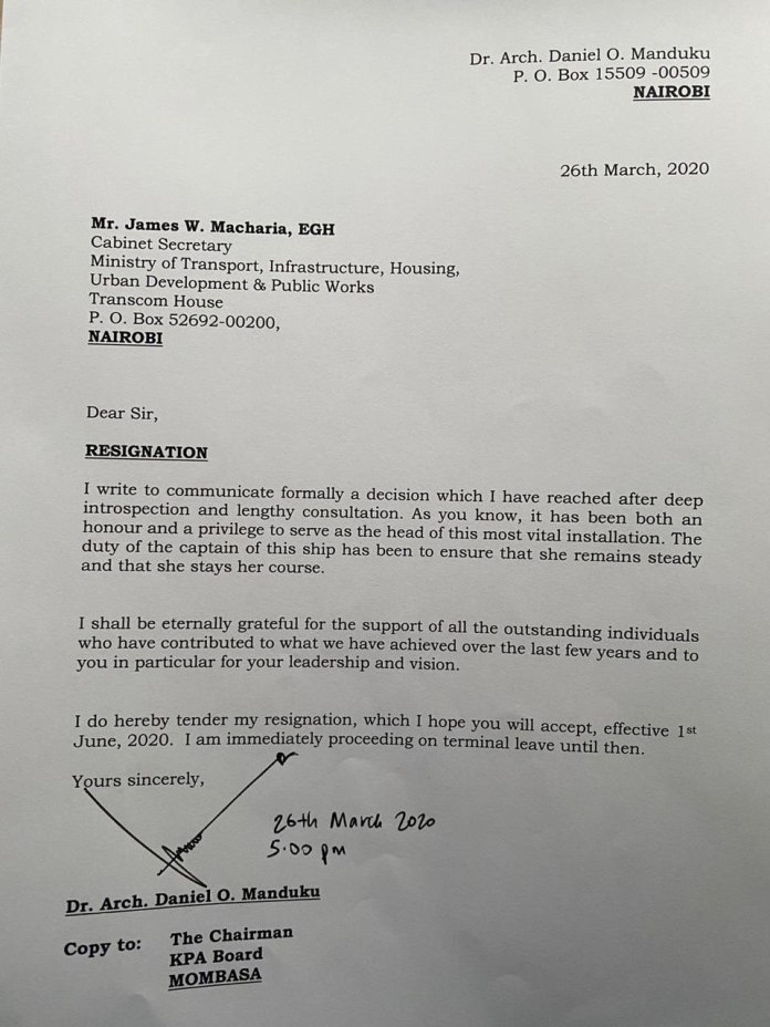 BREAKING: Kenya Ports Authority MD Manduku resigns, forced to exit, cartels win