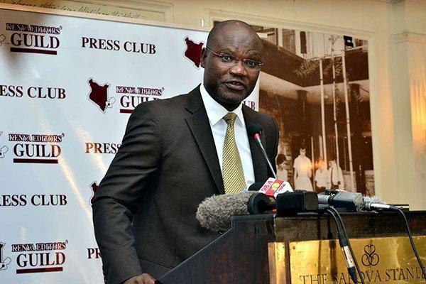 Kenya Editors Guild (KEG) president Churchill Otieno at a luncheon in Nairobi on May 21, 2019.