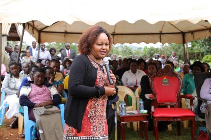 Kirinyaga Governor Anne Waiguru during addresses mourners during the burial of Jane Wanjiku Mburati at Kambarare Village, Gichugu constituency on Tuesday, March 10, 2020.