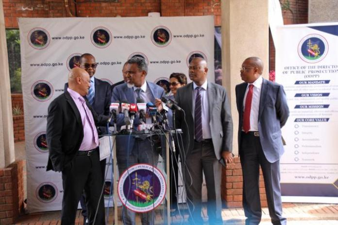 FROM LEFT: Ethics and Anti-Corruption Commission (EACC) CEO Twalib Mbarak, Director of Public Prosecutions (DPP) Noordin Haji and Directorate of Criminal Investigations (DCI) chief George Kinoti addressing a press conference in Nairobi on Thursday, March 5