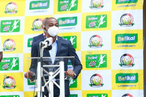 Football Kenya Federation (FKF) President Nick Mwendwa speaks after receiving a dummy cheque from Betika on April 23, 2020