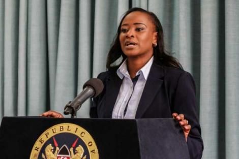 State House spokesperson Kanze Dena addressed the nation at State House in 2019.