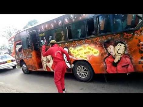 A photo of a pimped-out matatu pictured in the streets of Nairobi, Kenya.