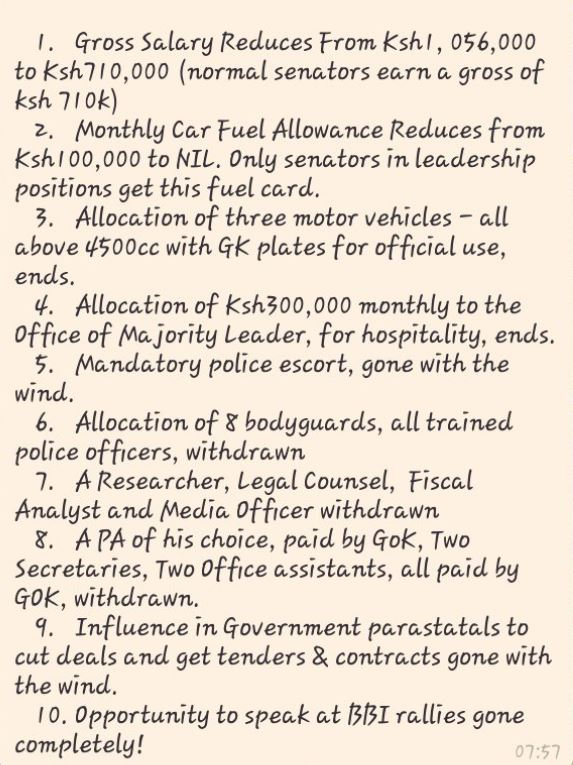 List of allowances Murkomen will lose after being KICKED OUT of senate leadership
