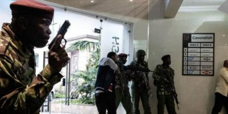 Kenyan special forces intervene after a bomb blast from the office block attached to DusitD2 hotel in Nairobi, Kenya, on January 15, 2019