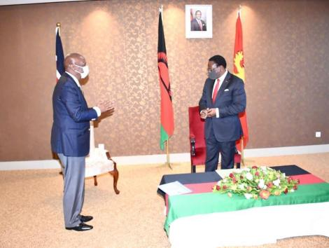 Baringo Senator Gideon Moi (Left) pictured during his meeting with Malawi President Dr Lazarus Chakwera on July 6, 2020.