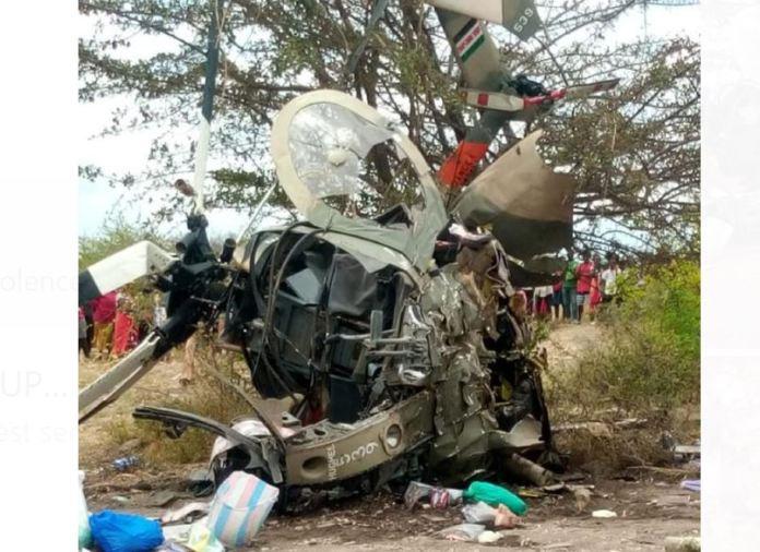BREAKING:  KDF Chopper crashes in Machakos, killing two officers