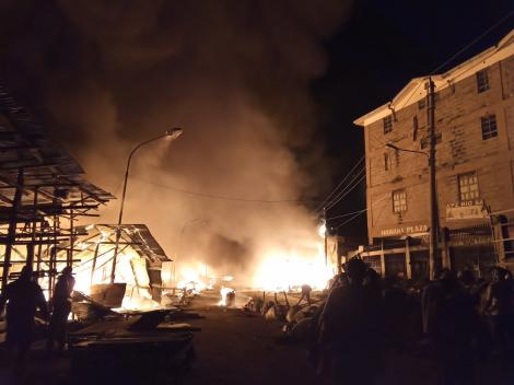 A section of Gikomba Market on fire. June 25, 2020.