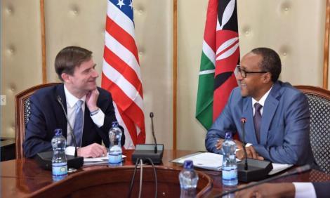 US Under Secretary for Political Affairs David Hale with Foreign Affairs PS Ambassador Macharia Kamau