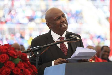 Baringo Senator Gideon Moi speaks during a memorial service for his father at Nyayo National Stadium on February 11, 2020