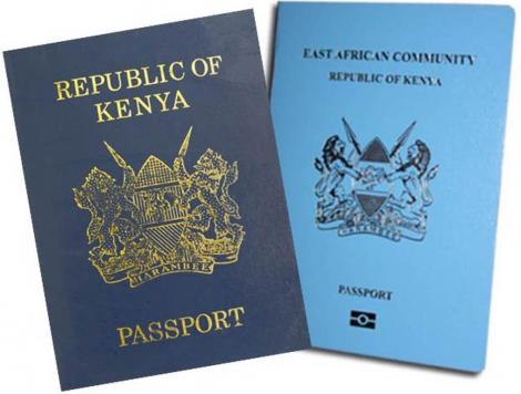 A photo of the Kenyan passport (left) and the East African Community (EAC) passport (left).