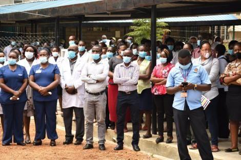 Makueni County Health workers pictured during CS Mutahi Kagwe's address on July 8, 2020.