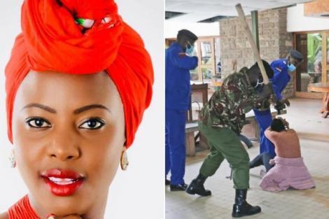 Mlango Kubwa MCA Patricia Mutheu Musyimi seen being assaulted by police on July 28, 2020