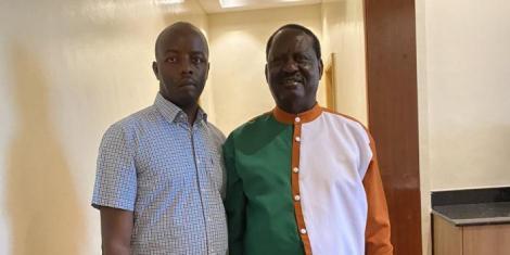 Raila Odinga Junior (left) with father Raila Odinga (right) in Meru County ahead of a BBI rally on Saturday, February 29, 2020