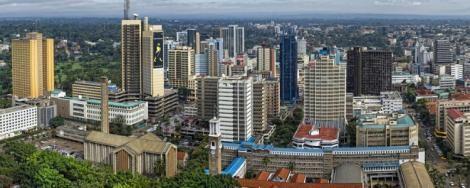 An aerial view of Nairobi City