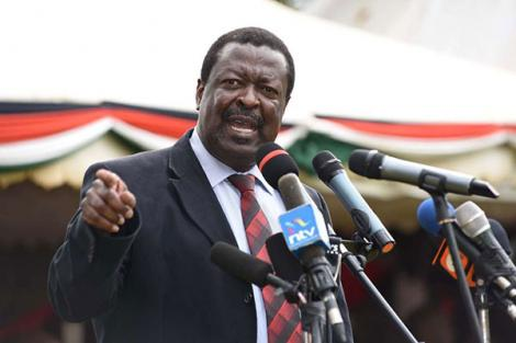 ANC leader Musalia Mudavadi speaks during the 15th Memorial Service of the late Vice President Kijana Wamalwa in Kitale on August 23, 2018.