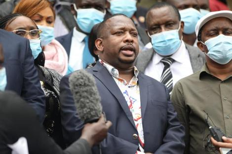 Nairobi Governor Mike Sonko speaking to journalists at KICC on August 21, 2020