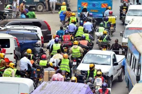 Boda boda riders at the junction of Kirinyaga and Racecourse Road in Nairobi on June 27, 2017.