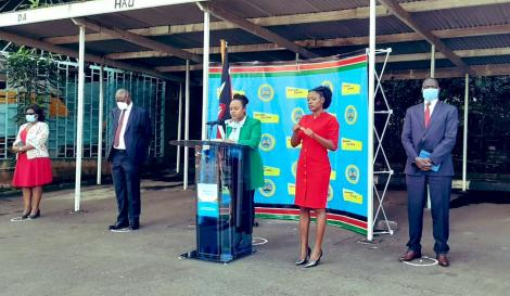 Health Ministry Chief Administrative Secretary Mercy Mwangangi addressing the media on April 21, 2020