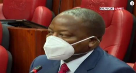Health Cabinet Secretary Mutahi Kagwe Speaking in Parliament on August 17, 2020.