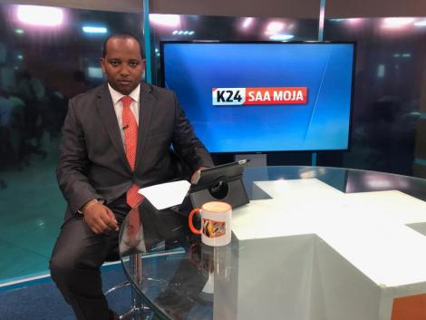 Former K24 TV anchor Franklin Wambugu while in studio.
