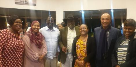 Former Prime Minister Raila Odinga in the company of oter leaders at wife Ida Odinga