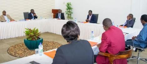 ODM leader Raila Odinga chairing a meeting with the party