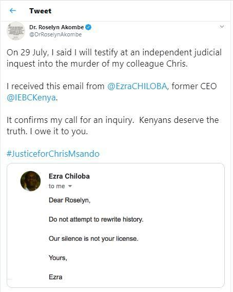 A tweet by Former IEBC Commissioner Roselyn Akombe exposing former IEBC CEO Ezra Chiloba