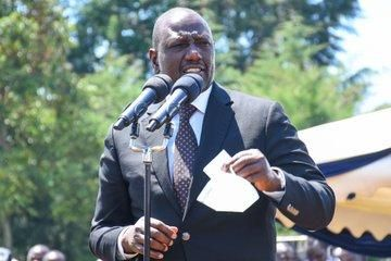 Deputy President William Ruto speaking during the burial of athlete Ben Jipcho on Friday, July 31.