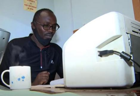 George Mwangi was forced to move into a tiny office in his school after being kicked out over rent arrears