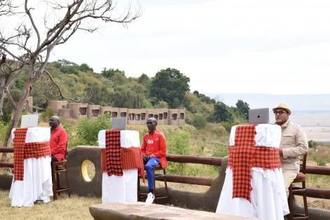President Uhuru Kenyatta held a Zoom call with Narok Governor Samuel Tunai, CS Najib Balala and Marathon champion Eliud Kipchoge on August 8, 2020