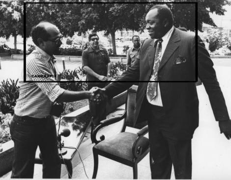 The late Kenyan photojournalist Mo Amin with the late former President of Uganda Idi Amin Dada