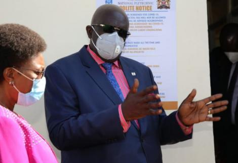 Education CS George Magoha during a tour of Meru National Polytechnic on September 4, 2020.