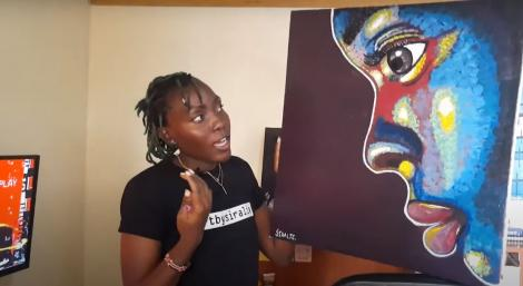 Yvonne Siralie showcasing some of her abstract art