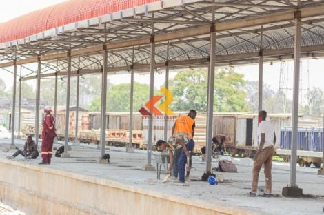 Workers at the Nairobi Central Railway Station in 2020