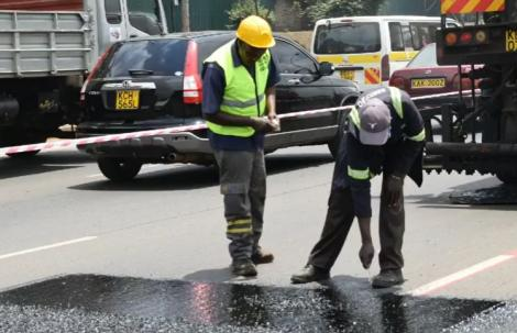 KeNHA workers conducting road maintenance work on Thika Super Highway