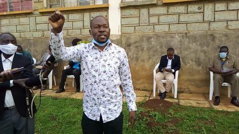 Saboti MP Caleb Amisi addressing Boda Boda on Monday, August 17, 2020.