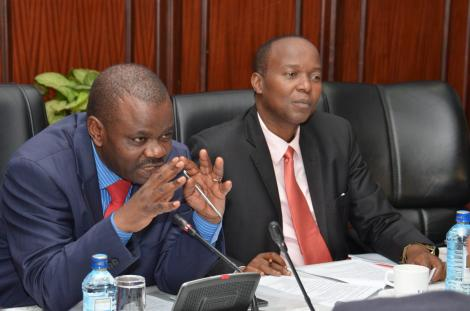 ICT Principal Secretary Jerome Ochieng' (left) during a previous press briefing