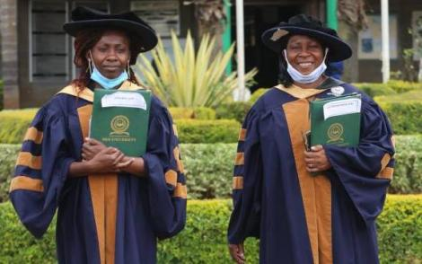 Dr Leen Kavulavu (left) and her mother Dr Anne Mugalavai take a photo at the Moi University on Thursday, December 10