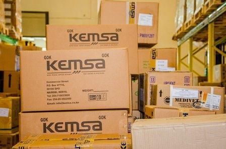 KEMSA branded boxes.
