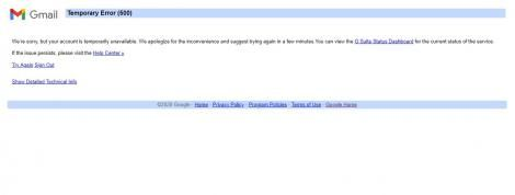 The landing page when Gmail services went down.