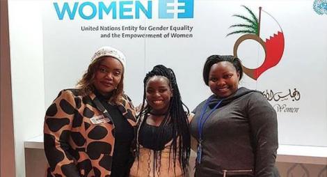 Nairobi Governor Mike Sonko's Wife, Primrose Mbuvi (left), daughter, Saumu (center) and Senator Milicent Omanga in New York in March 2018.