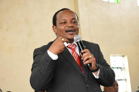 Nyeri Town Member of Parliament Ngunjiri Wambugu addresses members of the public during a consultative Building Bridges Initiatives (BBI) meeting at the ACK St. Peters Hall in Nyeri on Wednesday, February 26, 2020.