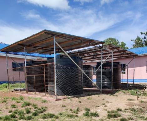 The water tanks set up in a school in Machakos County.