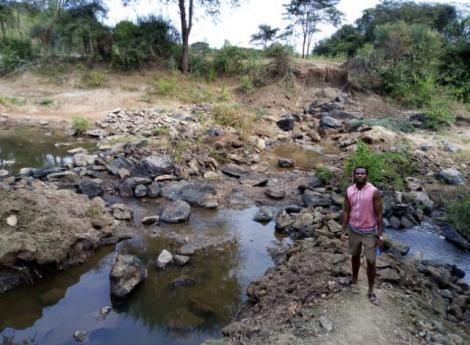 Festus Kavita in his village in Machakos county.